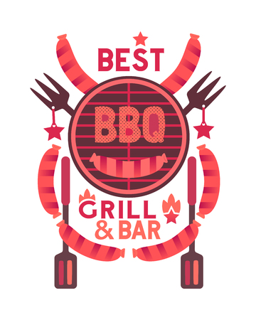 Best BBQ funny flat hand drawn vector color icon. Barbecue party quirky cartoon. Grilling sausages, grill grid and fork cute barbeque emblem. Grill bar restaurant logo signboard advertisement template