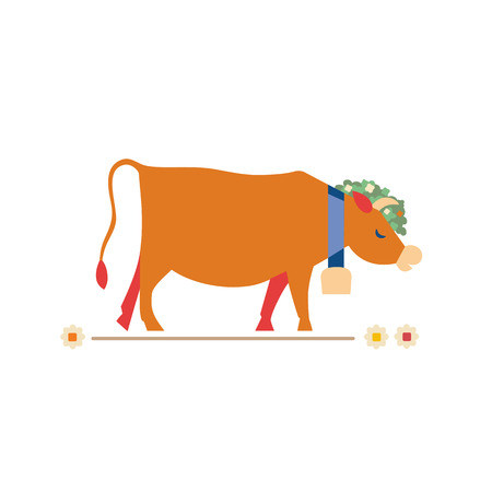 Cute milk cow flat hand drawn vector color character icon. Farm animal eats meadow flowers. Dairy brown Swiss cow grazing with cowbell. Farming mammals sign. Isolated Scandinavian cartoon illustration 矢量图像