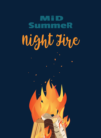 Midsummer holiday fire festival flat poster. Bonfire night. Colorful cartoon flame sign. Burning flaming campfire. Fireplace in summer camp party banner template, flyer background. Vector illustration