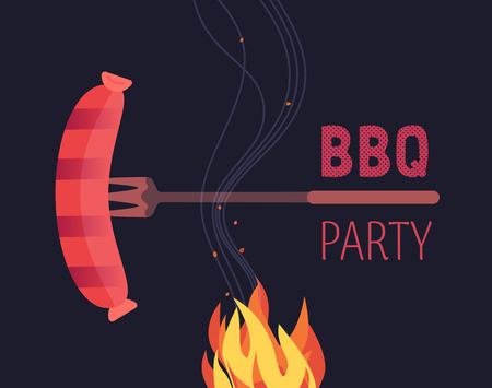 BBQ grilled sausages flat hand drawn vector color icon