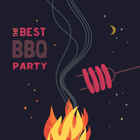 BBQ grill night party flat color icon