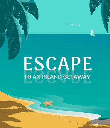 Summer seaside landscape. Blue ocean scenic view. Hand drawn tropica island escape poster. Holiday vacation season sea travel leisure. Sea leisure relax. Vector tourist trip advertisement background