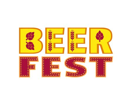 Beer fest hand drawn flat color vector lettering