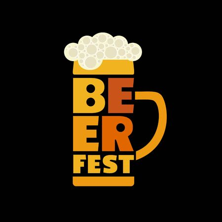 Beer fest hand drawn flat color vector lettering 写真素材 - 128151700