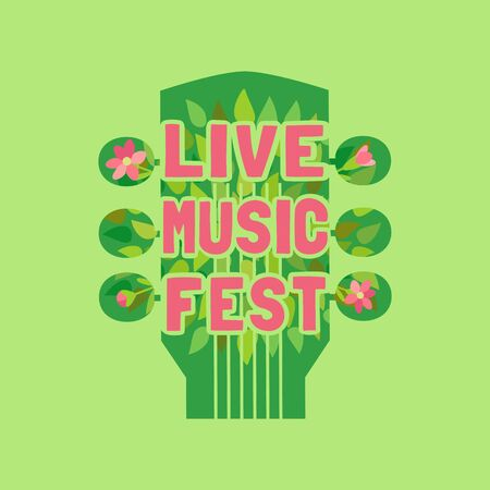 Live music fest flat color vector icon