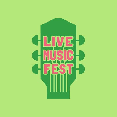 Live music fest flat color vector icon