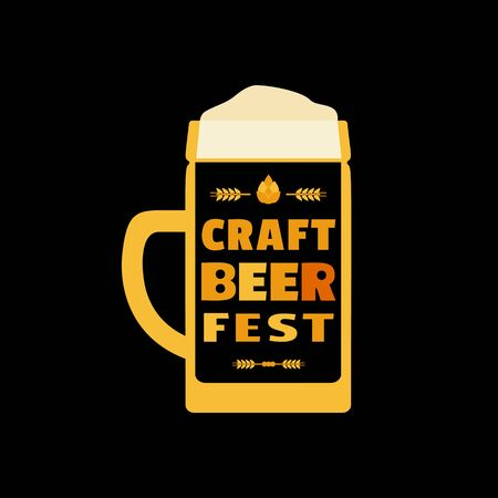 Craft Beer Festival hand drawn flat color vector icon 写真素材 - 128151710