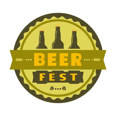 Beer fest hand drawn flat color vector icon. Brew festival fun sticker, beer bottle silhouette design element. Emblem isolated, white background. Brew Fest welcome flyer template cartoon illustration 写真素材 - 128151738
