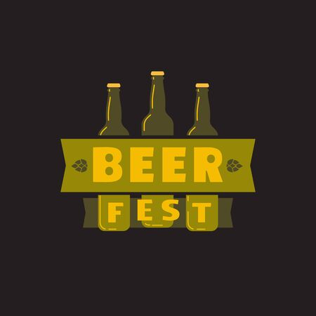 Beer fest hand drawn flat color vector icon. Brew festival typographic fancy letters design element. Text, beer bottles on black background. Fest invitation welcome flyer template cartoon illustration  イラスト・ベクター素材