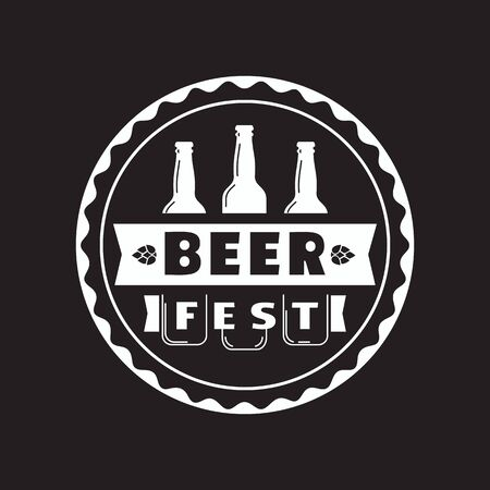Beer fest hand drawn flat color vector icon. Brew festival stamp beer bottle silhouette design element. Emblem black white monochrome background. Brew Fest welcome sign template cartoon illustration  イラスト・ベクター素材