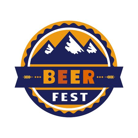 Beer fest hand drawn flat color vector icon. Beer festival, mountains silhouette fun sticker design element. Emblem isolated on white background. Brew Fest welcome flyer template cartoon illustration