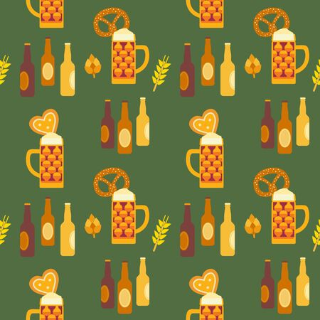 Oktoberfest hand drawn icon flat color vector seamless pattern  イラスト・ベクター素材