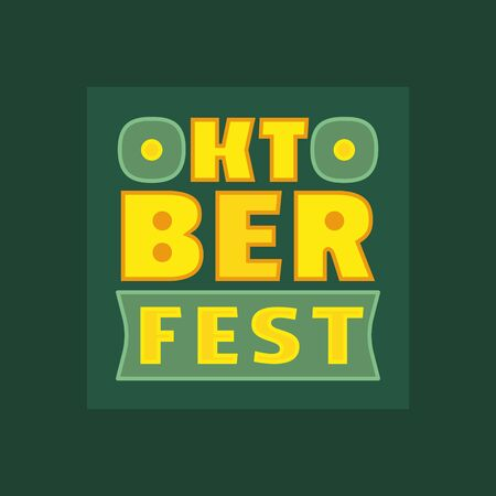 Oktoberfest hand drawn vector flat color letters signboard