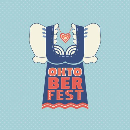 Oktoberfest hand drawn flat color vector icon. Beer festival traditional dirndl lettering design element. Beer fest text on blue background. Fest invitation welcome flyer template cartoon illustration