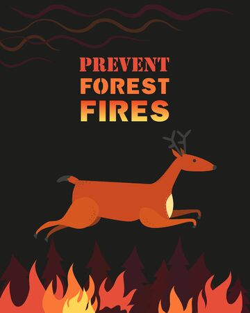 Prevent forest fires flat color vector poster concept  イラスト・ベクター素材