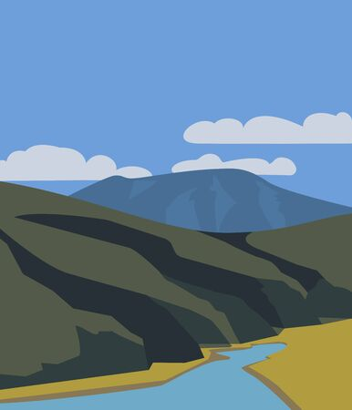 Hand drawn mountain lake valley flat color vector