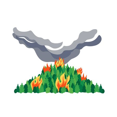 Forest fires disaster trees flat vector icon