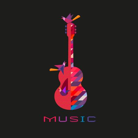 Acoustic guitar hand drawn flat colorful music vector icon