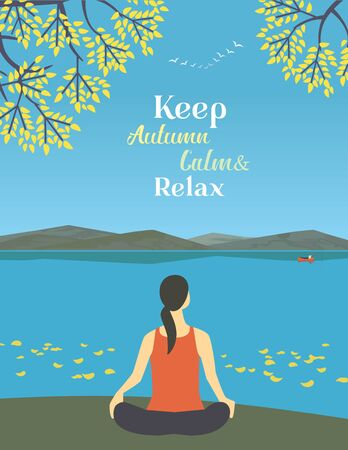 Girl exercising yoga on autumn nature flat color vector