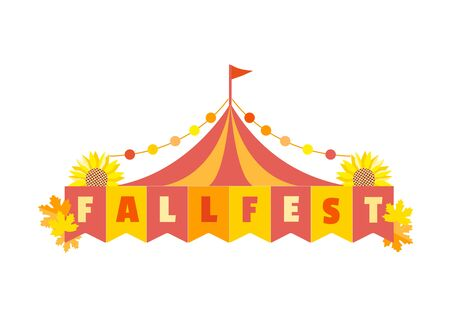 Hand drawn Fall fest tent simple flat color vector icon Illustration