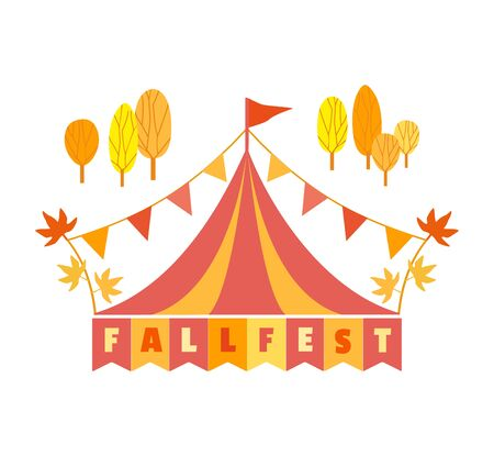 Hand drawn Fall fest tent simple flat color vector icon  イラスト・ベクター素材