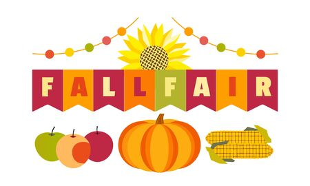 Hand drawn Fall Fair flat color vector headline 写真素材 - 130161009