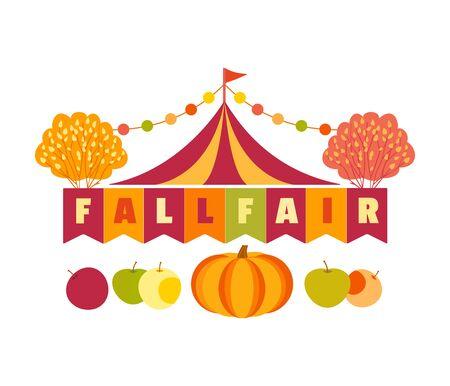 Hand drawn Fall Fair flat color vector headline