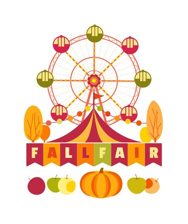 Agricultural Fall Fair Fun flat color vector poster  イラスト・ベクター素材