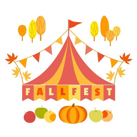 Hand drawn Fall fest tent simple flat color vector icon 写真素材 - 130161004