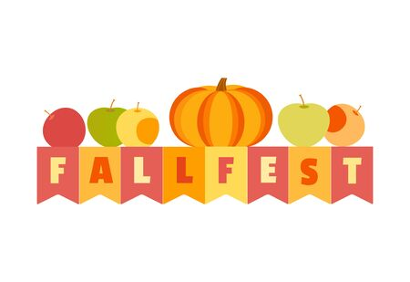 Hand drawn Fall Fest flat color vector headline