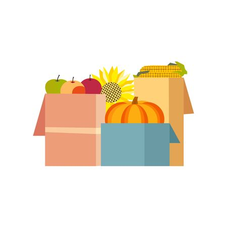 Autumn harvest in boxes flat color vector icon Illustration