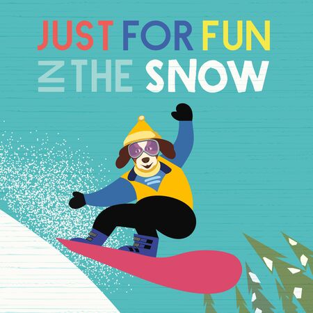 Hand drawn Fun in snow flat color vector poster 写真素材 - 130161015