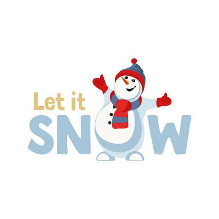 Let it snow snowball cute flat color vector  イラスト・ベクター素材