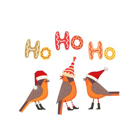 Hand drawn Christmas Holiday vector design element. Cute winter bird in elf, red Santa hat. Fancy letters text Ho-Ho-Ho colorful cartoon. Template for New year season event banner, greeting eve flyer