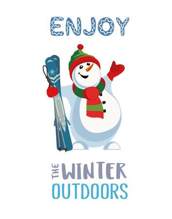 Season motivation quote Enjoy winter outdoors. Cute comic frosty snowman in sport hat with mountain skies. Funny skier cartoon icon. Leisure nature outdoor activity flyer, lable vector illustration  イラスト・ベクター素材