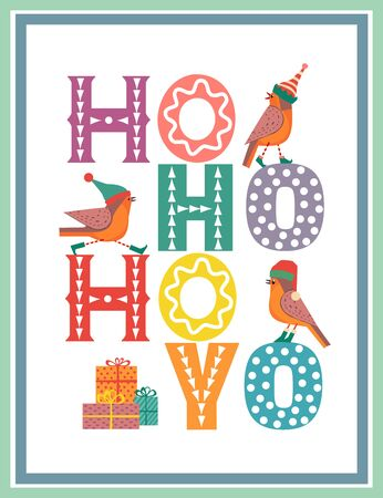 Hand drawn Christmas Holiday vector design element. Cute winter bird in elf, red Santa hat. Fancy letters text Ho-Ho-Ho colorful cartoon. Template for New year season event sticker, greeting eve flyer  イラスト・ベクター素材