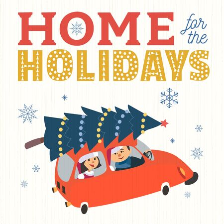 Home for the holidays fancy quote retro poster