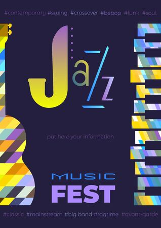 Template Design Poster with classic guitar piano silhouette. Design idea Live Jazz Music Festival show promotion advertisement. Seasonal musical event background vector vintage illustration A4 size 写真素材 - 131754424