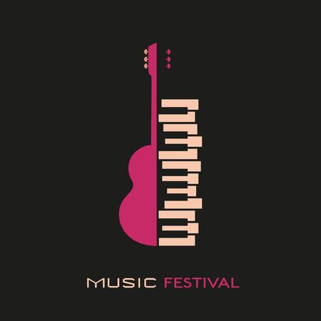 Guitar piano hand drawn flat colorful music vector icon. Classic Guitar piano keyboard silhouette design element. Vintage musical instrument emblem template. Advertising event background illustration