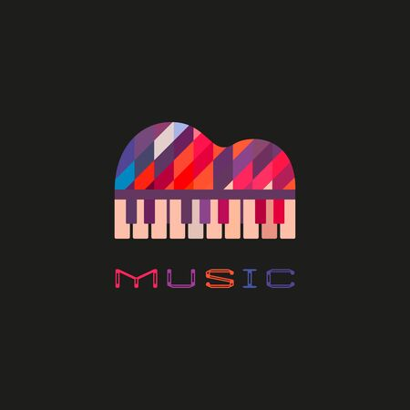 Piano keyboard hand drawn flat color music vector icon. Creative piano festival sign silhouette design element. Vintage musical instrument emblem template. Avertisement event background illustration