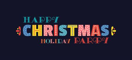 Happy Christmas holiday party fancy vector lettering