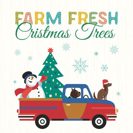 Farm fresh Christmas trees flat color vector poster. Winter holidays hand drawn cartoon. Cute comic dog, snowman transport Christmas tree. Fun banner of trees sale for New Year joy event celebration