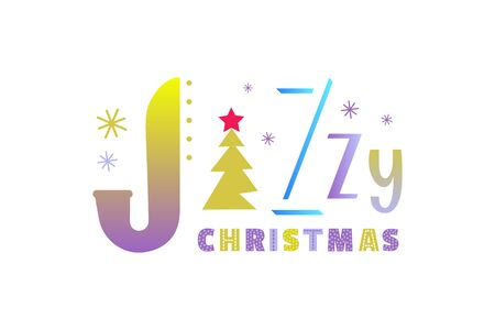 Jazzy Christmas holiday flat color vector sticker. Christmas Jazz music fancy lettering cartoon design element. Winter season holiday musical festival invitation advertisement background illustration