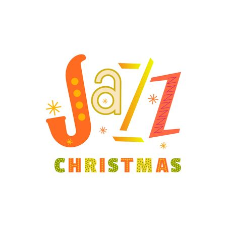 Jazz Christmas hand drawn flat color vector icon