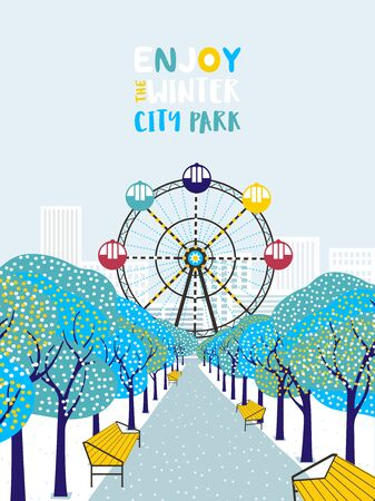 Wintertime in city park flat color vector poster. Snowy trees alley, Ferris wheel in town garden cartoon design. White snow on park lawn. Winter season leisure lifestyle banner template illustration