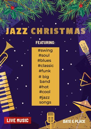 Template Design Poster Christmas Jazz. Design idea Live Jazz Music Festival show flyer promotion advertisement. Winter Christmas holiday season celebration event background vector illustration A4 size