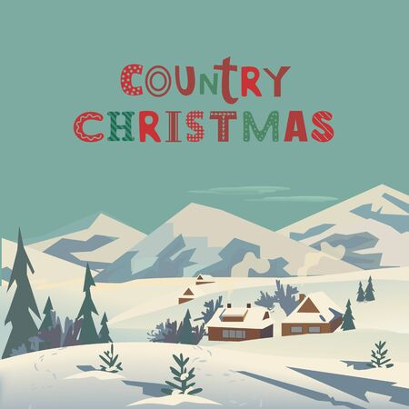 Country Christmas fancy flat color vector poster