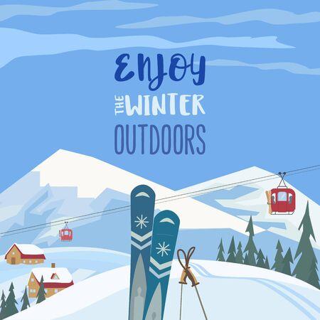 Disfrute del cartel de vector de estilo retro de invierno al aire libre Ilustración de vector