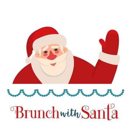 Brunch with Santa Fancy Holiday vector flat icon