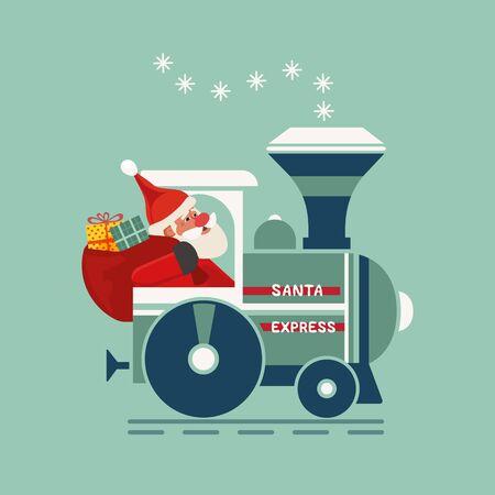 Santa Christmas train holiday party vector icon